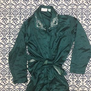 Emerald Satin 2-Piece Pajama Set